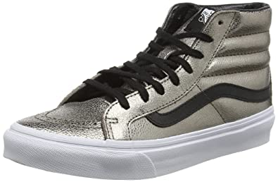 SK8 Hi Slim Metallic Leather Bronze/Black Womens Skate Shoes Size 7