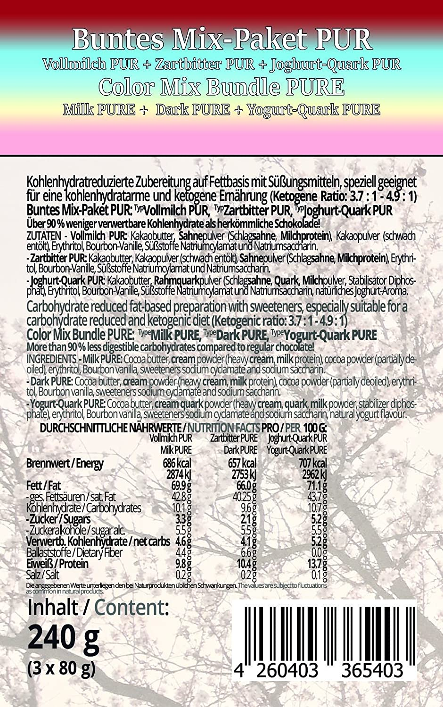 Choketo Low Carb Keto Schokolade Buntes Mix Paket Pur Vollmilch Pop Ice Bundle Zartbitter Weisse Joghurt Quark 3 Tafeln Handgemacht Ohne Xylit Maltit