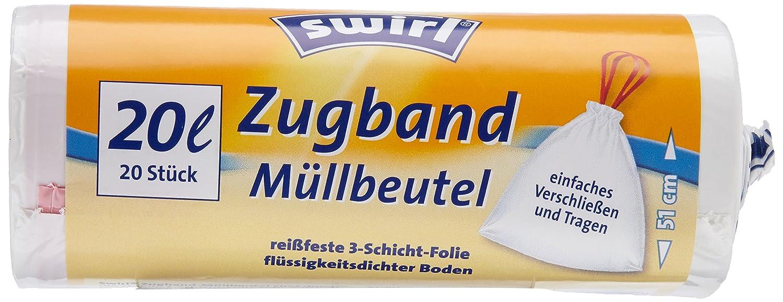 3x Swirl Zugband Müllbeutel 20L ( 20 stk./ Rolle )