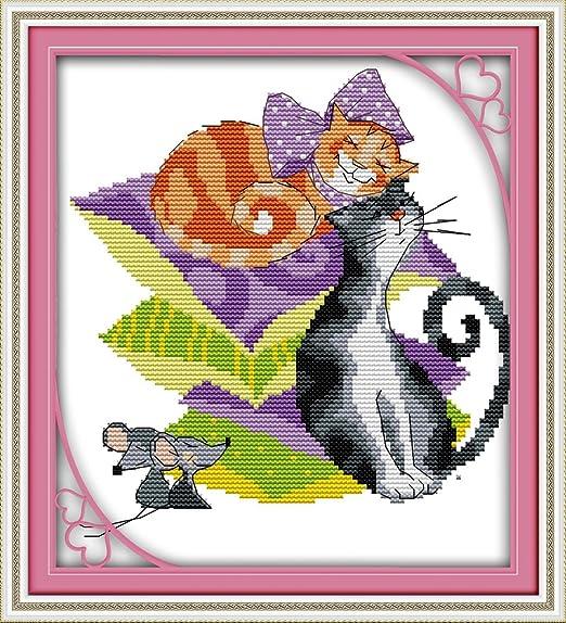 Chreey - Kit de Punto de Cruz | Gatos y Ratones | 26 x 27cm ...