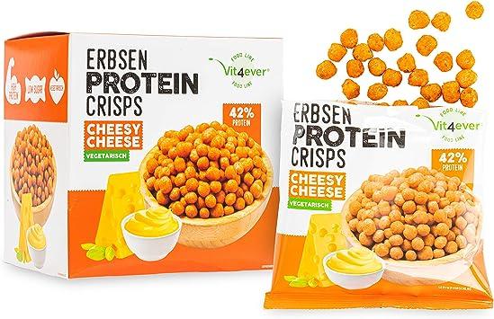 Crisps de guisantes de alta proteína – 42 % proteína – con proteína de guisante – Low Sugar & Low FAT – Ideal para dieta – 5 x 60 g (Cheesy Cheese) – ...