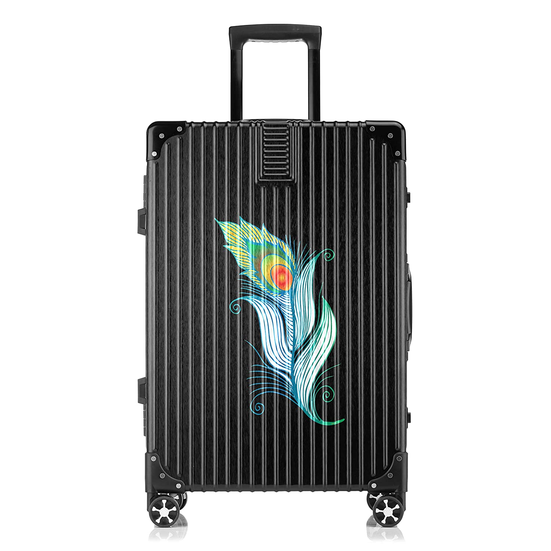 GSHCJ スーツケース きれいな孔雀の羽 キャリーケース 20インチ おしゃれ ブラック Tsaロック搭載 プリント ハード 超軽量 軽い 機内持込 ロックファスナー 旅行 ビジネス 出張 海外 修学旅行 丈夫 便利 レディース メンズ 学生 B07RZ88958