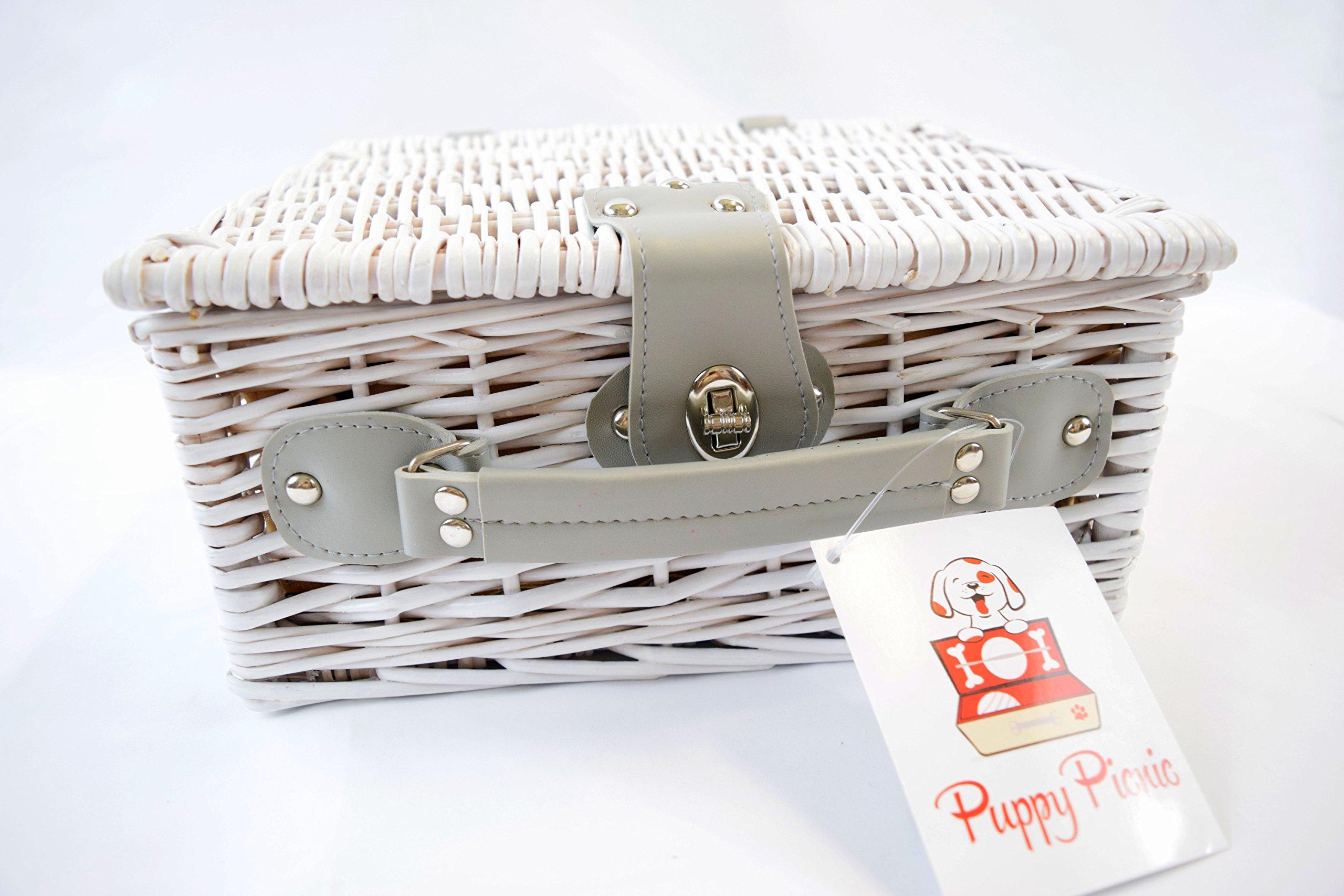 Dog Gift Basket with Dog Bowls, Dog Toy, Dog Brush - Puppy Picnic White Wicker Basket