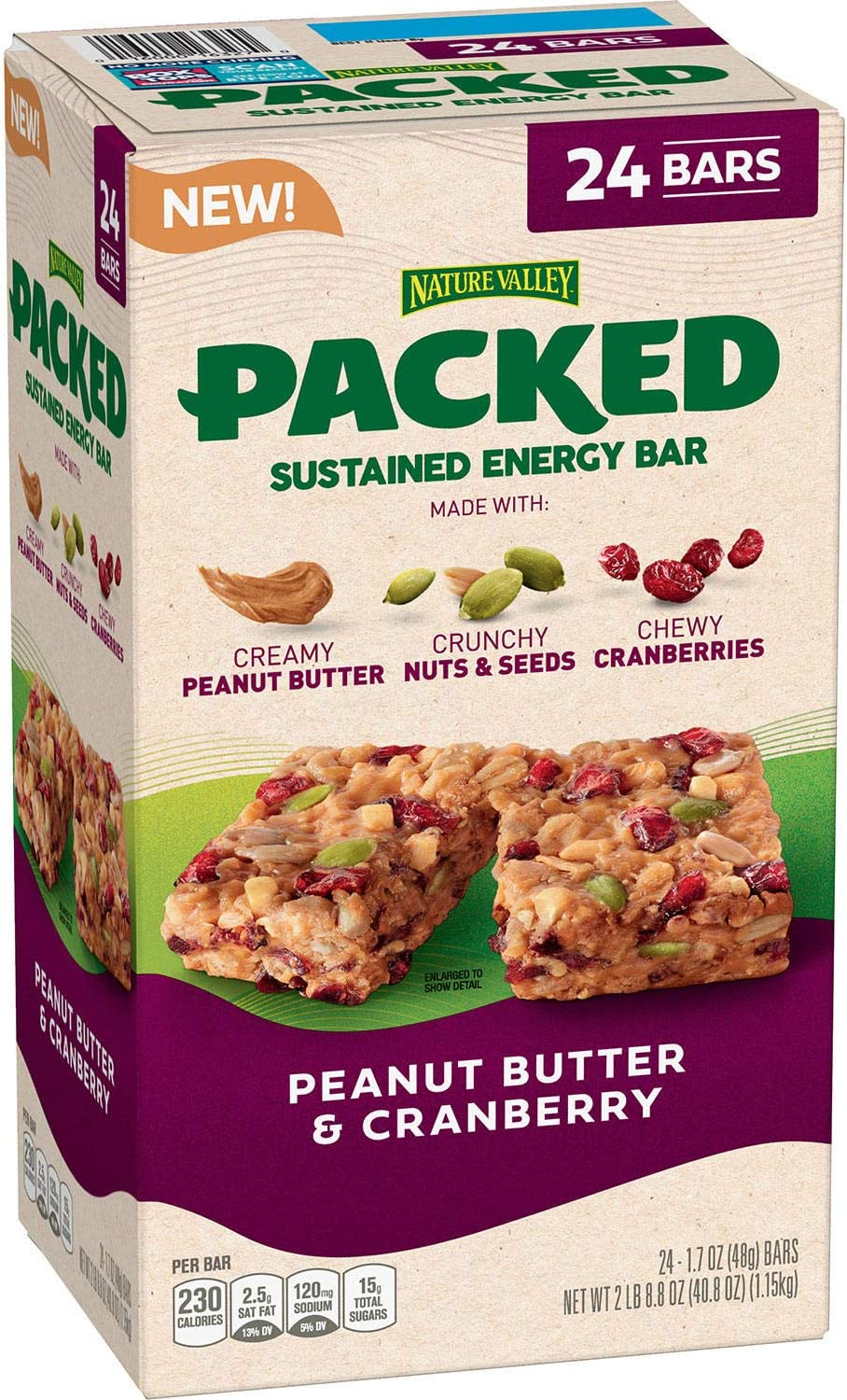 Nature Valley Packed Sustained Energy Bar, Creamy Peanut Butter-Crunchy Nuts & Seeds-Chewy Cranberries, 40.8 Oz, 1.15 kg