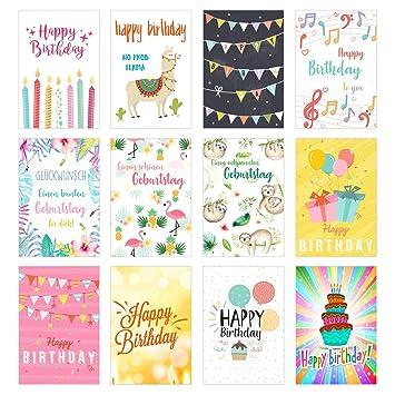 Juego de 12 tarjetas de cumpleaños exclusivas con sobre ...