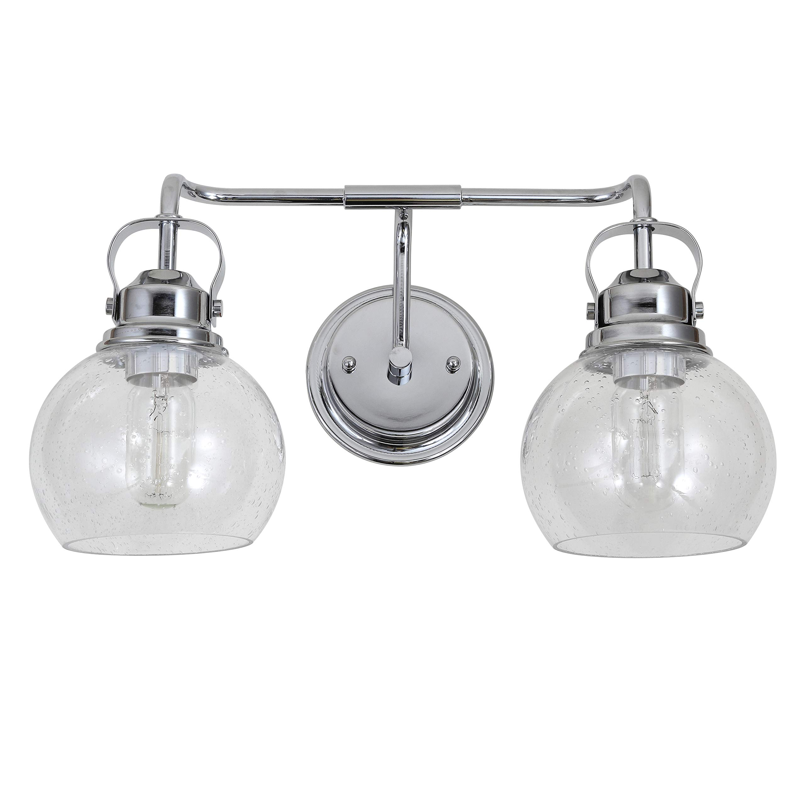 JONATHAN Y JYL7404A Shirley 17.5'' 2-Light Metal/Bubbled Glass Vanity, Chrome/Clear
