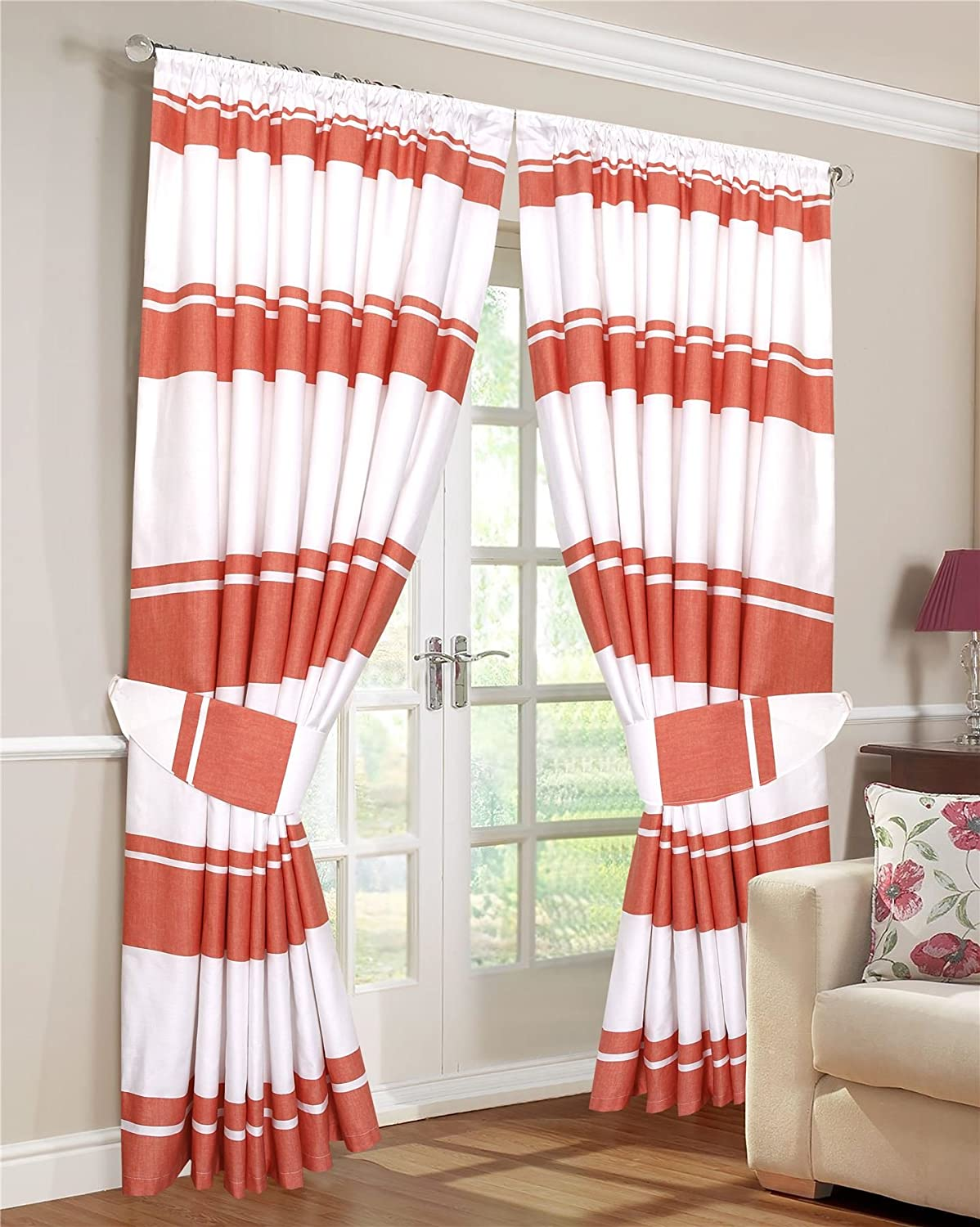 SleepyNights Love2Sleep PAIR OF PENCIL PLEAT LINED THERMAL STRIPED CURTAINS WITH TIEBACKS WHITE AND ORANGE 46