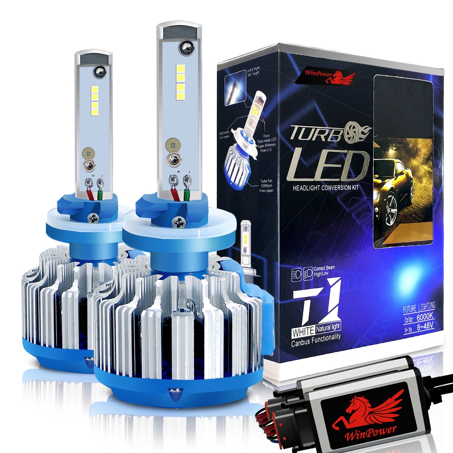 Win Power 9007 LED Headlight Bulbs Dual High Low Beam Conversion Kit CREE 70W 7200LM 6000K Cool White-2 Yr Warranty WP-T1-9007(HB5)