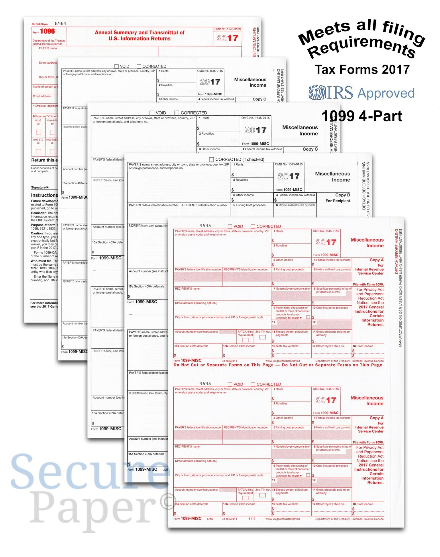 Complete Laser 1099 Misc And 1096 Tax Form set - Kit For 25 Vendors ~4-Part~ All 1099 Forms in Value Pack | 1099 Misc 2017