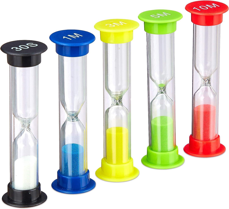 Relaxdays Set de Cinco Relojes de Arena, 5 Uds, Irrompible, Temporizador de Cocina, para niños, Varios Colores, Plástico