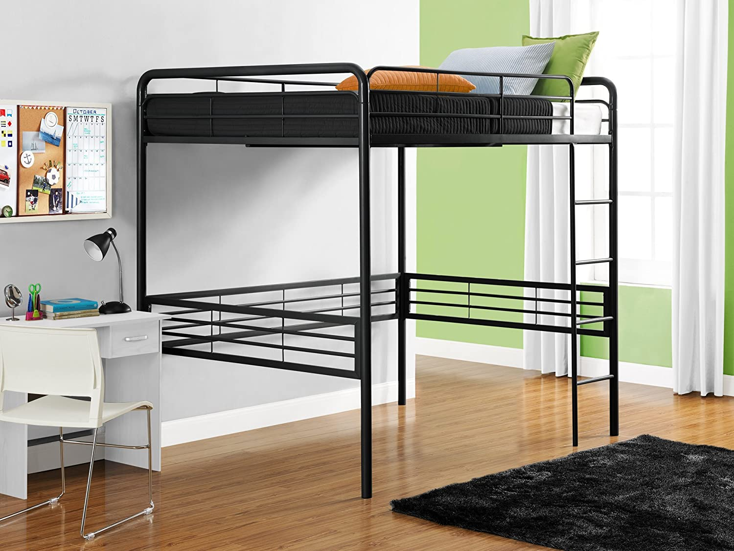 amazoncom dhp full size loft bed with metal frame and ladder black kitchen u0026 dining - Loft Beds For Sale