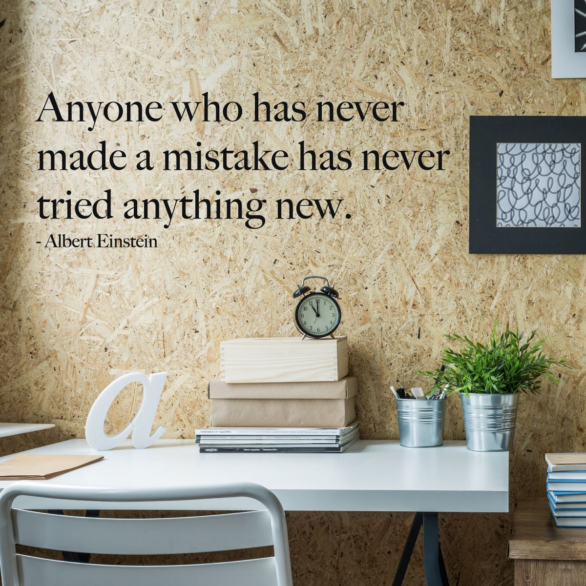 Albert Einstein Wall Decals - Anyone Who Has Never Made A Mistake - Vinyl Decoration for the Home, Office or Classroom Decor