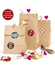 RATEL Christmas Gift Bags Set-24 Brown Kraft Paper Bags, 24 Advent Calendar Stickers, 24 Wood Clamps, 10M Hemp Rope, to Pack Gifts,Sweets and Biscuits in Christmas,Birthday,Parties and Advent Calendar
