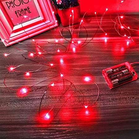 Wedding Parties Mikasol Led String Lights Battery Operated String Lights For Bedroom Christmas Decoration 5m 16ft Red Mini Battery Powered Copper Wire Starry Fairy Lights Centerpiece