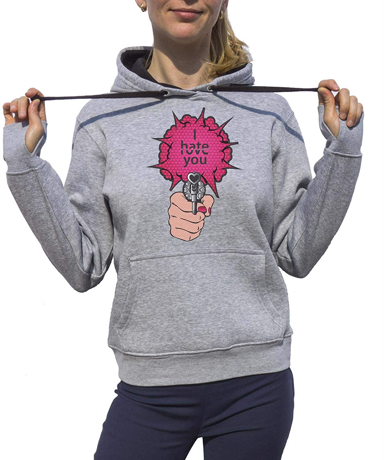 KrisTalas Sudadera con Capucha Mujer I Hate You Shot Gun Vintage Retro Style Hate and Love Crazy Urban Gris: Amazon.es: Ropa y accesorios