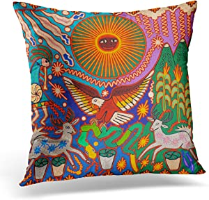 VANMI Throw Pillow Cover Colorful Hispanic Oaxaca Mexico Mexican Mayan Tribal Boho Bohemian Decorative Pillow Case Home Decor Square 18x18 Inches Pillowcase