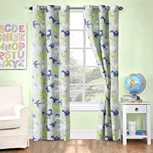 Better Home Style Printed Fun Grey Blue and Green Dinosaurs Dinosaur Kids/Boys/Teens Room Window Curtain Treatment Drapes 2 Piece Set with Grommets (Grey Dinosaur)