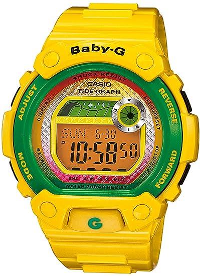 Casio Baby-G - Reloj digital de mujer de cuarzo con correa de resina amarilla (luz, alarma, cronómetro) - sumergible a 200 metros: Amazon.es: Relojes