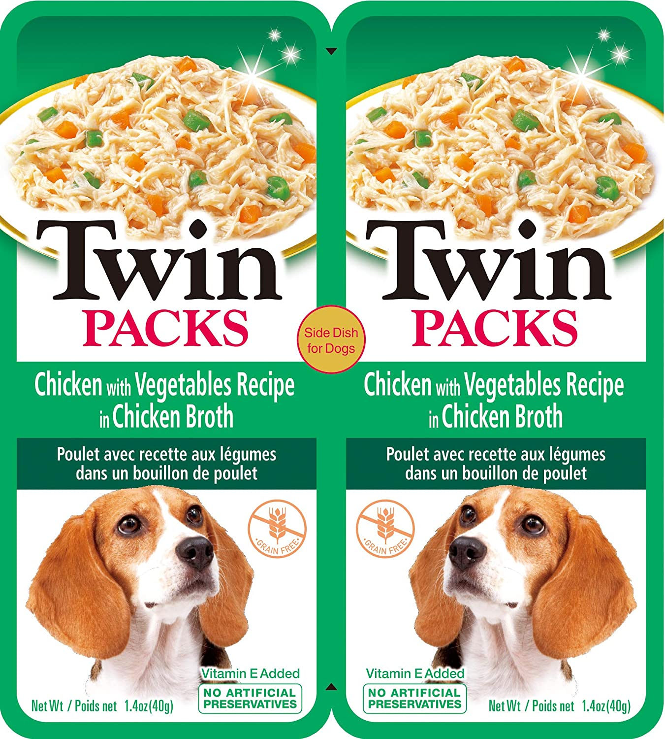INABA Twin Packs Side Dish for Dogs - Chicken with Vegetables Recipe in Chicken Broth (8 -2 Packs), Blue, IND801