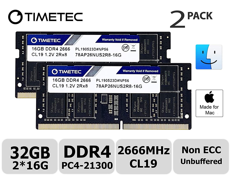 Timetec Hynix IC 32GB KIT(2x16GB) Compatible for Apple 2019 iMac 27-inch w/Retina 5K Display, Late 2018 Mac Mini DDR4 2666MHz PC4-21300 2Rx8 CL19 1.2V SODIMM Memory RAM Upgrade (32GB KIT(2x16GB))