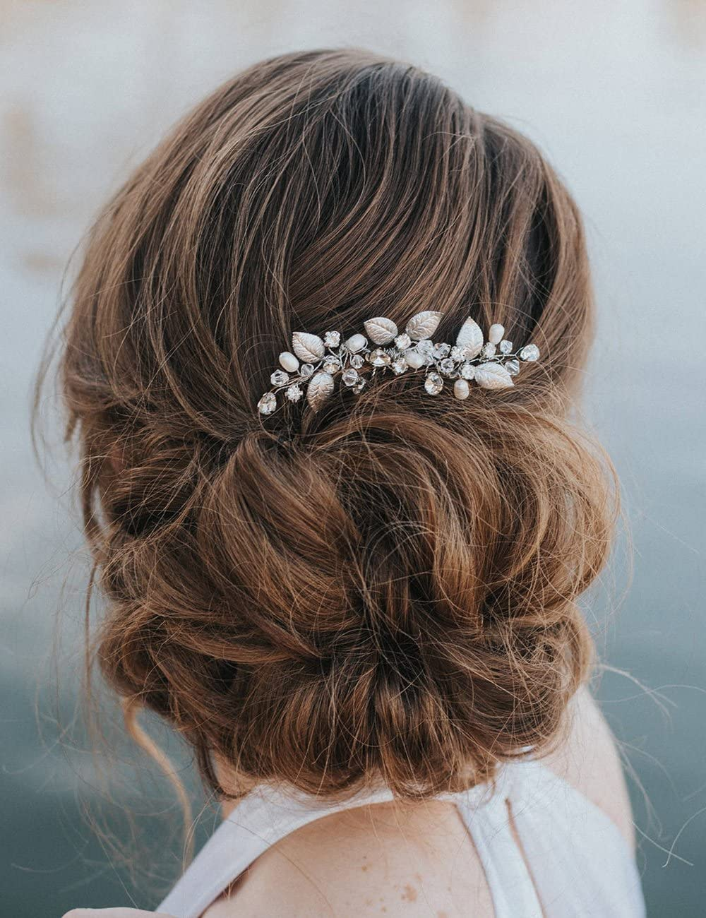 Kercisbeauty Wedding Bridal Bridesmaids Tiny Cute Leaf Crystal Beads Hair  Comb Slide Headpiece Long Curly Bun Hair Accessories for Prom(Rose Gold)
