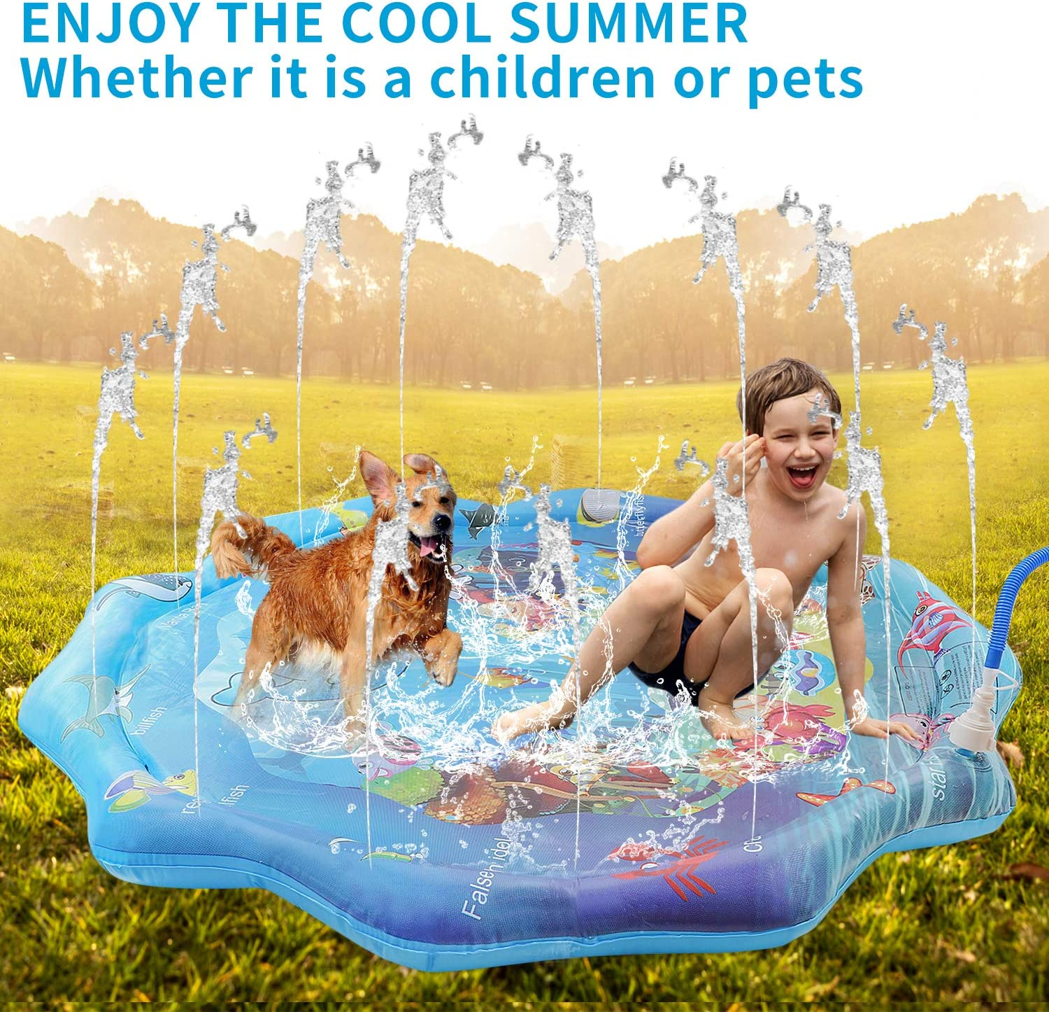 Summer Hot Day Backyard Games Gulymm Splash Pad Pool for Kids or Pet Kids Outdoor Activities for 1-12 Years Sprinkler for Kids Outdoor Toys with A-Z Letters 66.9IN