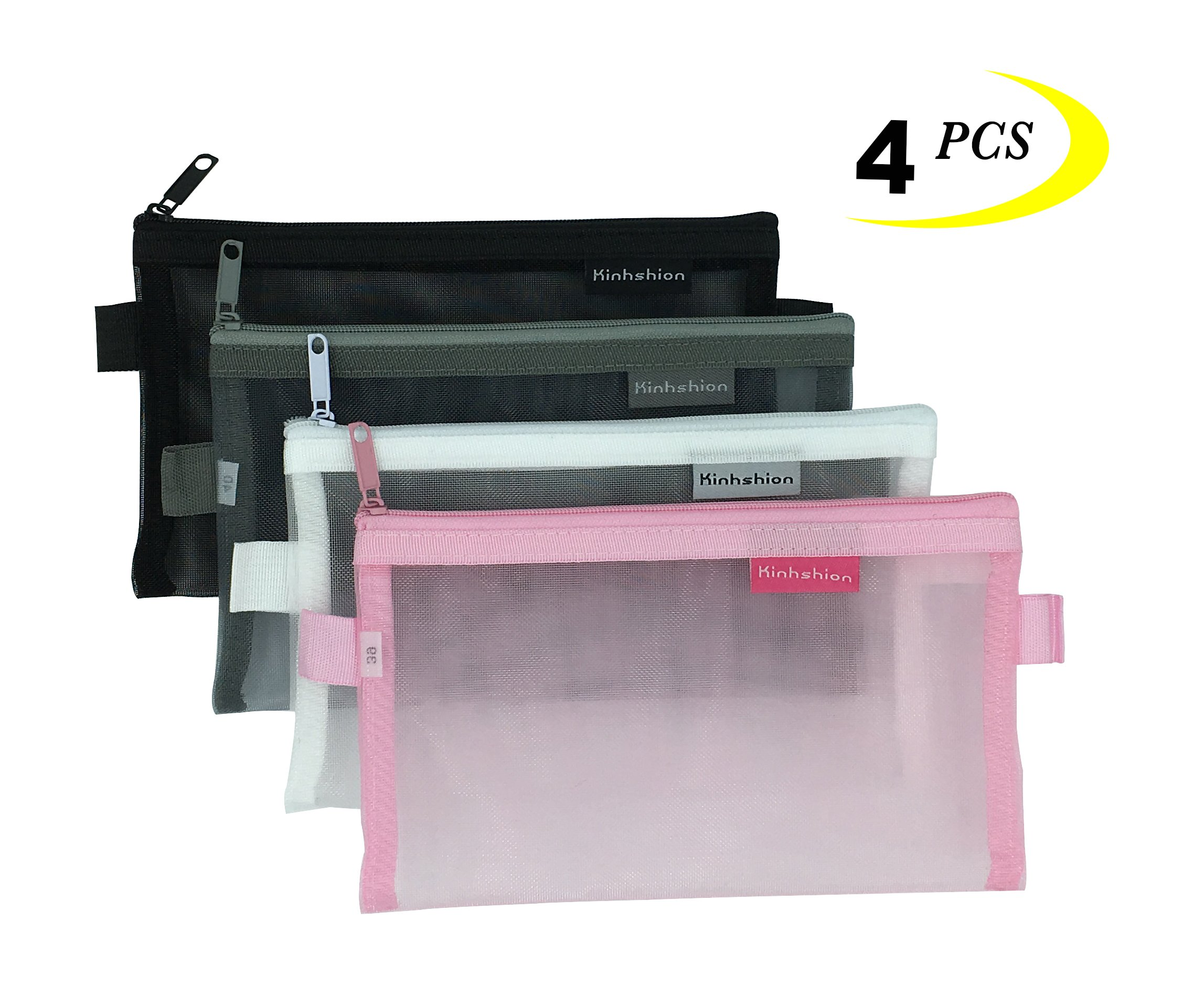 Zipper Pouch Mesh Bags Clear Small Organizer Fold Travel Cosmetic Storage 4 Pcs