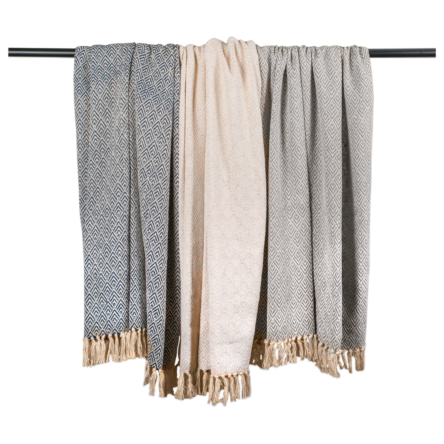 DII Rustic Farmhouse Cotton Diamond Blanket Throw with Fringe for Chair, Couch, Picnic, Camping, Beach, Everyday Use, 50 x 60 - Diamond Gray by DII (Image #5)