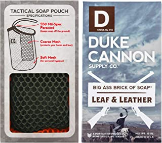 product image for Duke Cannon Supply Co. - Mens Soap On A Rope Tactical Scrubber Soap Bundle (2 Piece Set) Includes Tactical Body Scrubber and Big Ass Bar of Soap Leaf and Leather - Rich, Warm Tobacco and Leather Scent