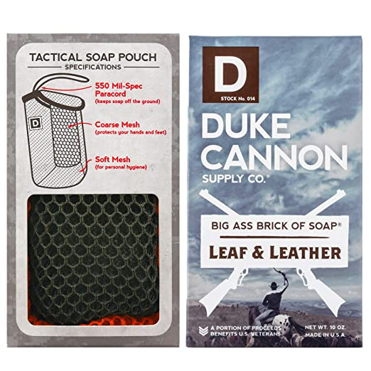 Duke Cannon Soap on a Rope for Men Set: Tactical Scrubber Soap Pouch + Big Brick of Soap - Leaf + Leather, 10oz