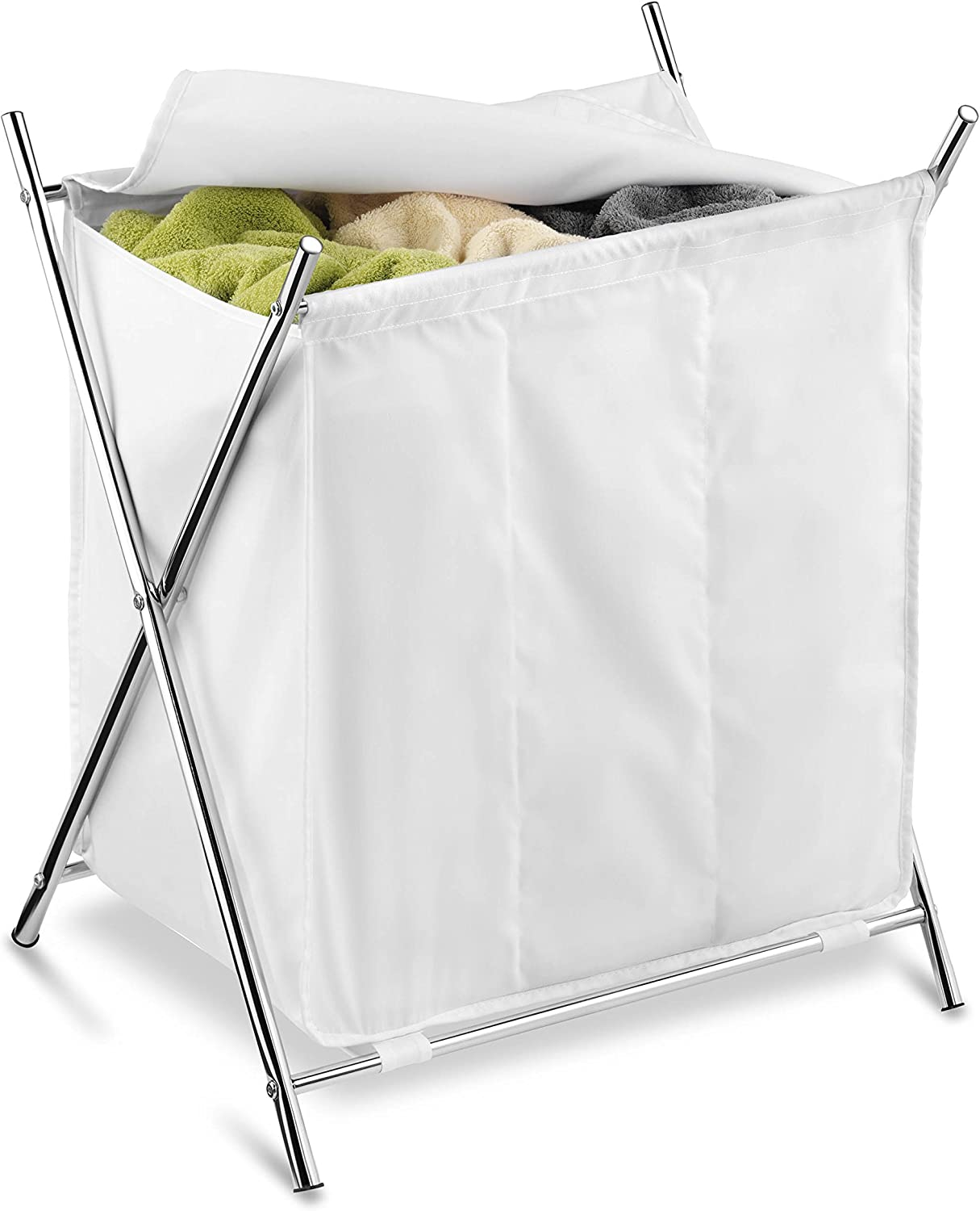 Honey-Can-Do Folding Triple Laundry Sorter, White/Chrome
