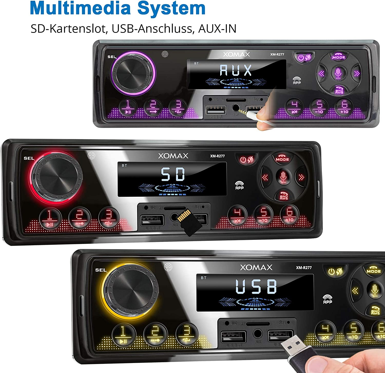 XOMAX XM-R277 Car Stereo with Bluetooth Hands-Free Function I FM I without CD drive I USB Port I MP3 WAV I AUX IN I DIN1 I Including Cage I SD Card Slot up to 128 GB up to 128 GB