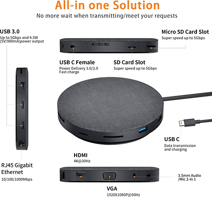 2019 Version USB C Hub with Wireless Charger and Fan 11 in 1 USB C Adapter with