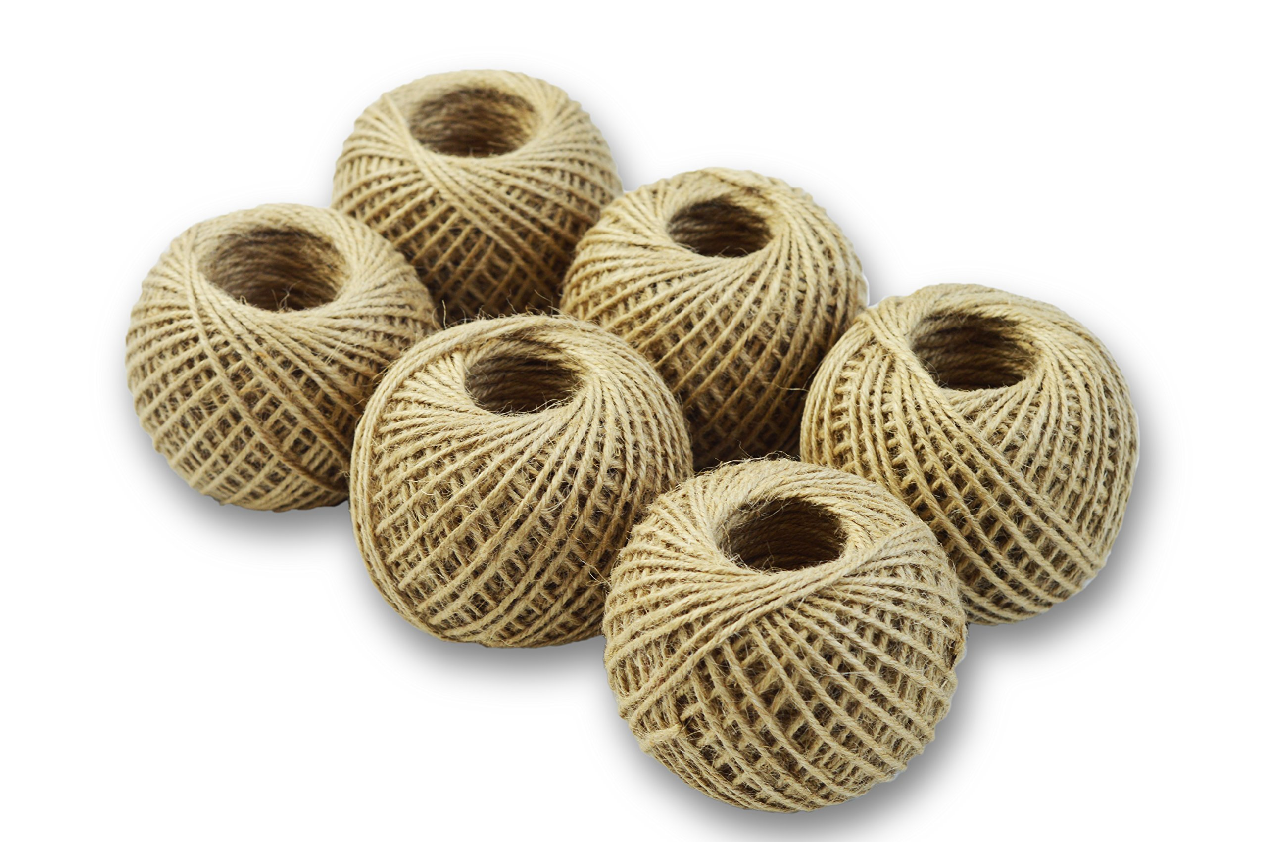 Jute Twine for Crafts, Butcher String, or Garden- 6 Roll Value Pack 220 Ft Per Roll