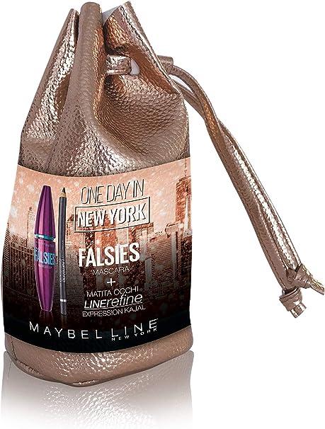 Maybelline New York - Estuche de edición limitada de Navidad Look One Day en Nueva York con máscara y lápiz de ojos línea Refine Kajal 33 – 300 g: Amazon.es: Belleza