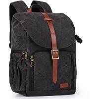 "Bagsmart Camera Backpack, Water Resistant DSLR Camera Bag Canvas Bag Fit up to 15"" Laptop with Rain Cover, Tripod Holder…"