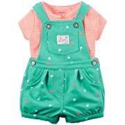 Carter's Baby Girls' 2 Piece Shortall Set 121g500, Mint, New Born