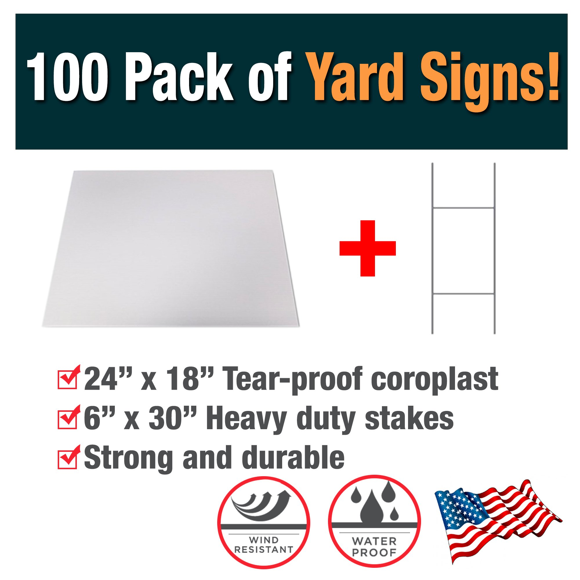 100 Pack of Blank Yard Signs - Made with Tear-Proof 18x24 Inch Coroplast - Heavy Duty H-Stakes Included - Great for Promoting Your Business, Open House, For Rent, Garage Sale, Elections, & Birthdays!