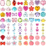 HaiMay 64 Pieces Little Girl Shiny Clip-on Earrings and Adjustable Jewelry Rings Set,Children Kids Girl Pretend Play Earrings and Dress up Rings,All Packed in Clear Box