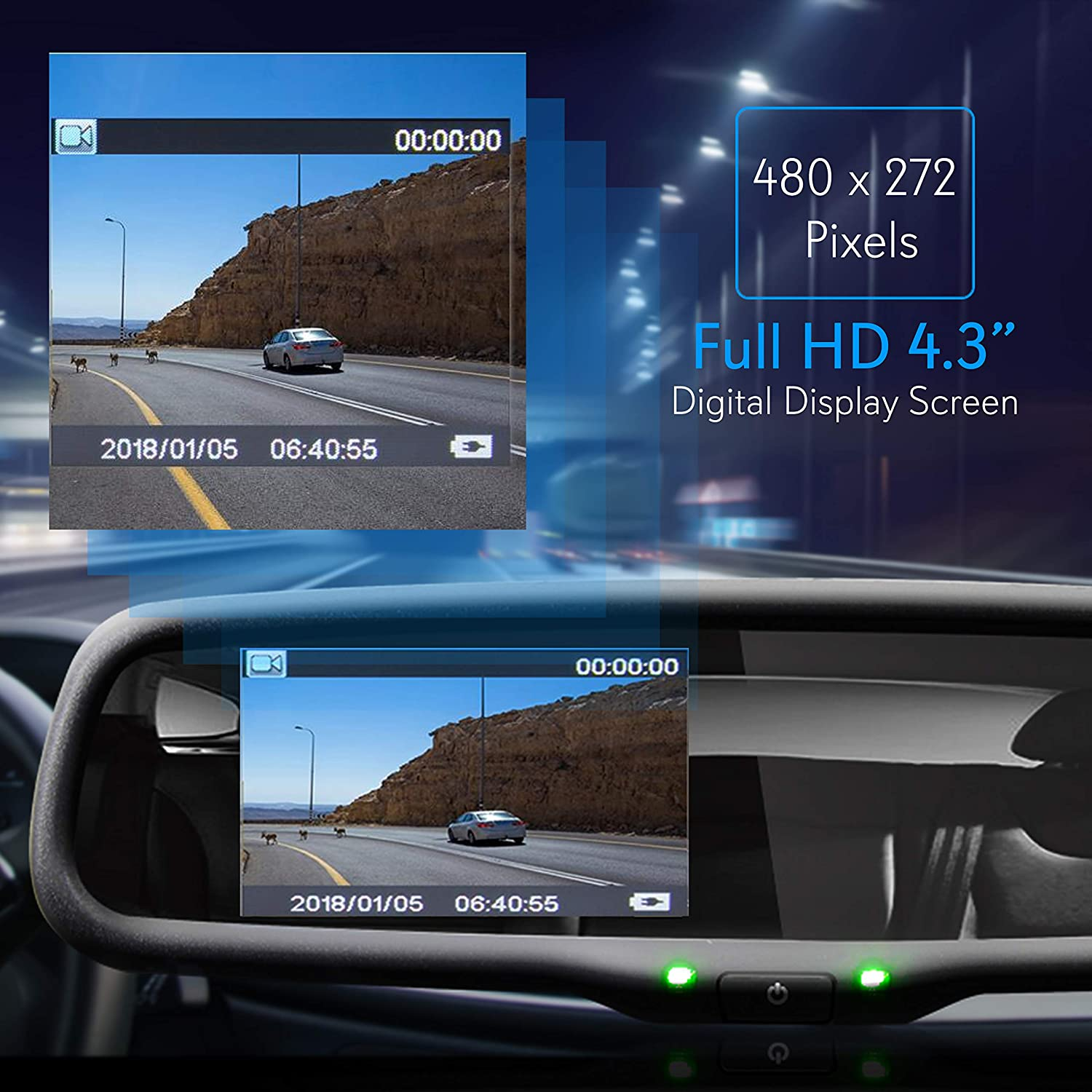 """Pyle PLCM4590WIR Night Vision Waterproof License Plate Car Parking Rearview Reverse Safety//Vehicle Monitor System w// 4.3/"""" Mirror Video LCD Wireless Backup Rear View Camera Distance Scale Lines"""