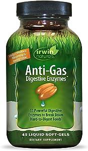 Irwin Naturals Anti-Gas Digestive Enzymes, Break Down Hard-to-Digest Food & Reduce Indigestion, 45 Liquid Softgels