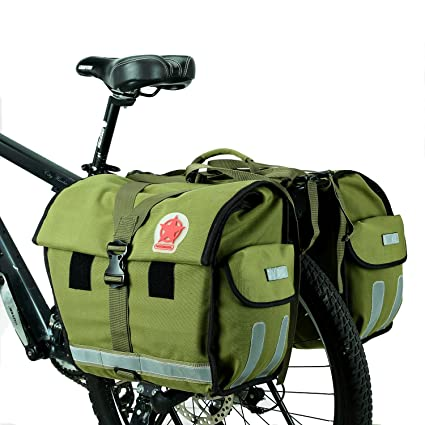 cb2c266be593 ArcEnCiel 45L Water-Resistant Bicycle Rear Seat Carrier Bag Double Pannier  Bag Army Green -