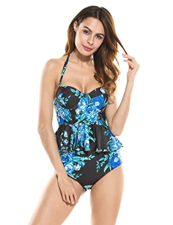 544c2db75a243 Ekouaer Womens 2 Piece Push Up Vintage Floral Peplum High Waist Bikini  Swimsuit (Blue Black