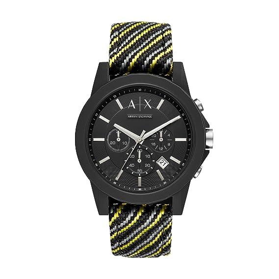Armani Exchange Reloj Cronógrafo para Hombre de Cuarzo con Correa en Nailon AX1334: Amazon.es: Relojes