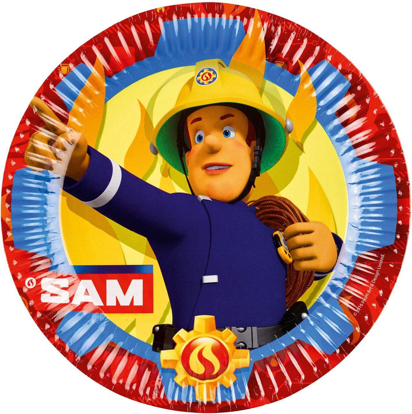 amscan 11012077 Round Paper Plates with Fireman Sam Design-8 Pcs