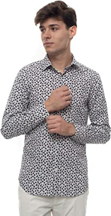 Brooksfield - Camisa de hombre de fantasía blanca de algodón para hombre: Amazon.es: Ropa y accesorios