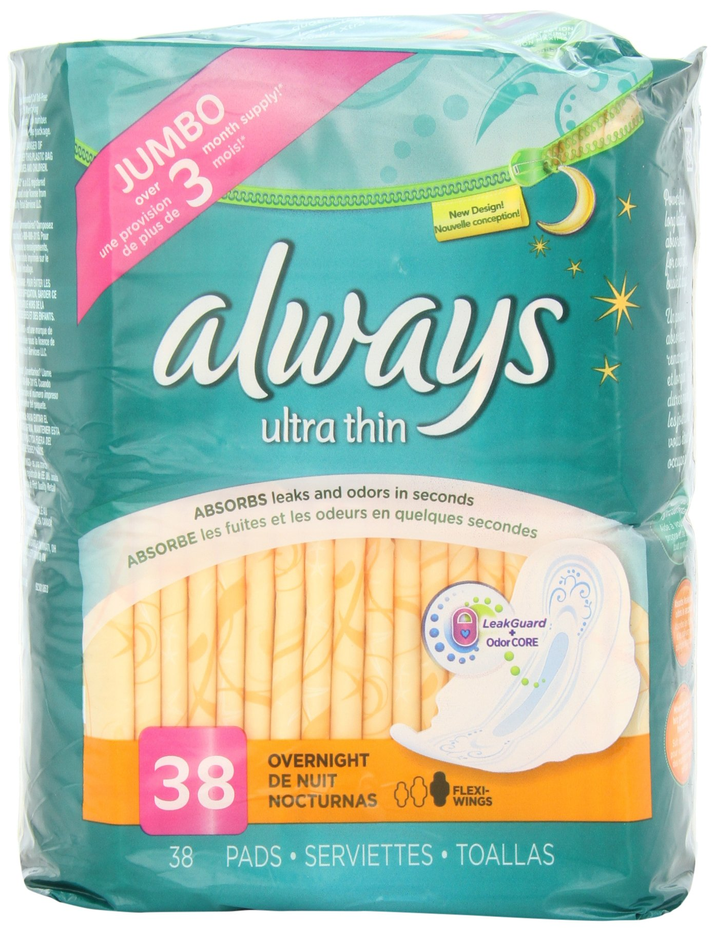 Always Ultra Thin Overnight Feminine Pads with Wings, Unscented, 38 Count