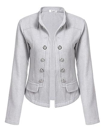 quality design 8ce26 a722b Meaneor Damen Blazer Wollmantel Kurz Wolljacke Winter Mantel Cardigan  Dufflecoat Trenchcoat
