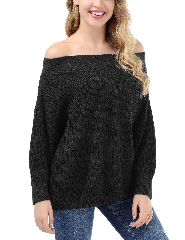 63602fb84e0d80 FISOUL Women s Off Shoulder Knit Sweater Batwing Sleeve Loose Oversized  Pullover Sweater Knit Jumper