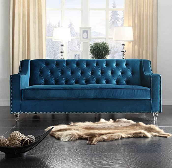 Iconic Home FSA2577-AN Dylan Velvet Modern Contemporary Button Tufted with Silver Nailhead Trim Round Acrylic Feet Sofa